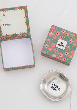 Etched round dish comes packaged inside a paper keepsake box with a matching silver token on the top! To/From on inside lid for easy giving.