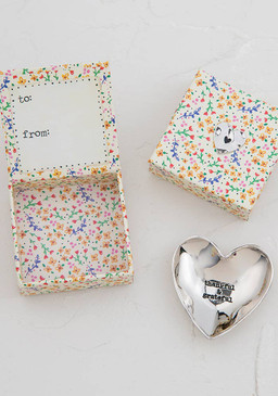 Etched heart shaped dish comes packaged inside a paper keepsake box with a matching silver token on the top