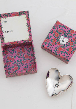 Etched heart shaped dish comes packaged inside a paper keepsake box with a matching silver token on the top! To/From on inside lid for easy giving.
