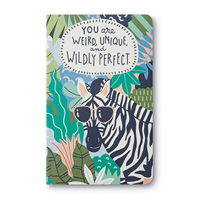 zebra in jungle with sunglasses journal, front