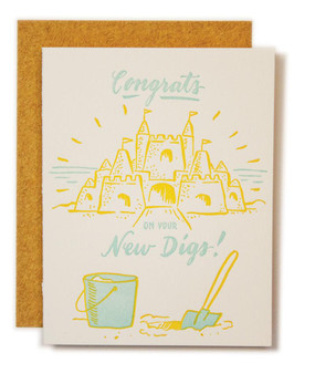 Congratulate your friend on a new place with this sunny card! Size A2 with a blank interior for your congratulatory sentiments or a Home Depot gift card! Dig it with the sand colored envelope.