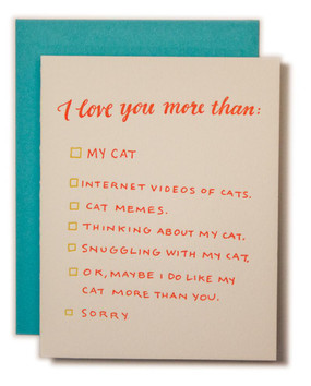 Multiple choice exam for when the choice is clear: cat lady for life. This size A2 card with turquoise envelope and blank interior lets you write a love note... or a love note to your cat.