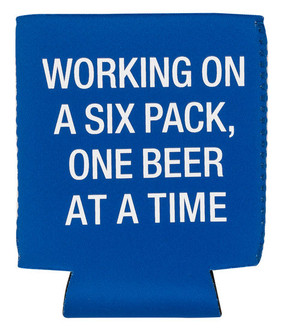 blue koozie constructed from high quality neoprene.