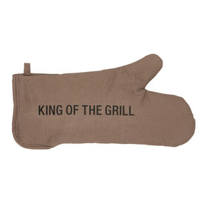 brown king of the hill oven mitt; durable, colorful and funny