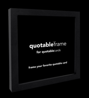 "frame your favorite quotable card. 5 5/8"" square. american alder wood. glass. easel stand and hanging hardware.  black frame."