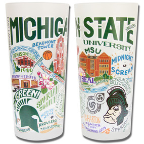 This original design celebrates Michigan State University. Go Green! Spartans Will. The design is amazingly rendered with vibrant colors plus silver and gold on a high quality 15-ounce frosted tumbler. Cheers and bottoms up!