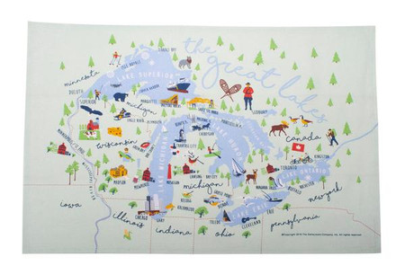 """Whimsical depiction of the grand Great Lakes on an 18"""" x 28"""" kitchen towel.  Original Galleyware artwork shows the major ports, towns and attractions."""