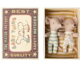 twin baby mice in a matchbox bed