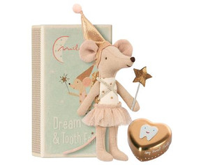 tooth fairy big sister mouse with metal box,  in matchbox bed