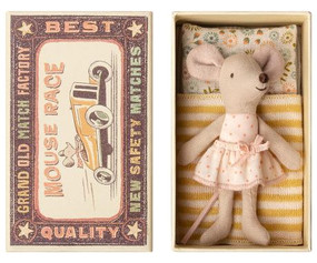 little sister mouse in matchbox bed