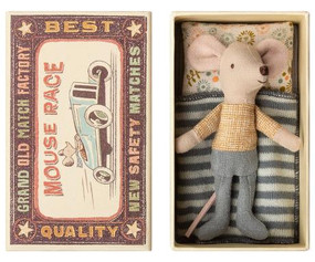Little brother mouse in matchbox bed