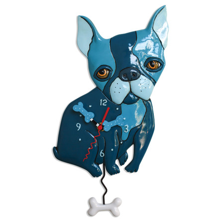 french bulldog pendulum clock blue