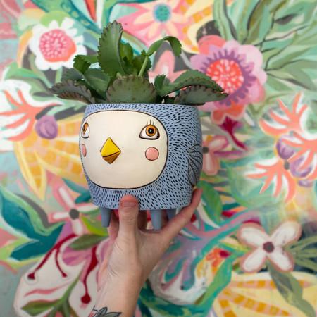 blue baby birdie planter