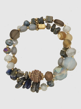 blue and black chunky double row gemstone bracelet