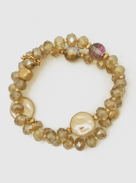 champagne  faceted double row bracelet