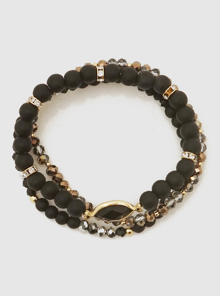 black triple row stone bracelet