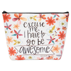 go be awesome  zippered cosmetic bag