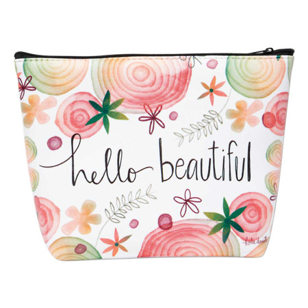 hello beautiful  zippered cosmetic bag