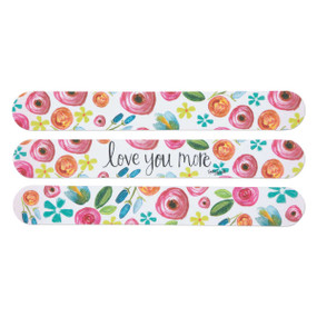floral patterned love you more emery board set