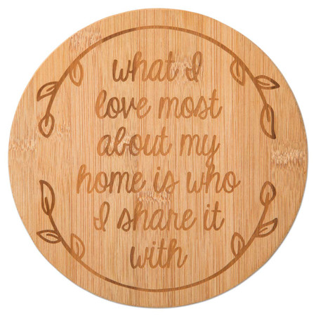 bamboo trivet with inspirational message