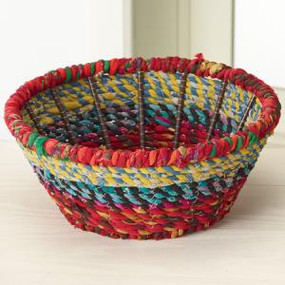 medium round color jute basket bowl, 10 x 4.25