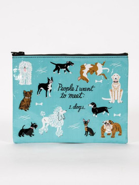 zippered pouch with dogs  95% post consumer recycled material.