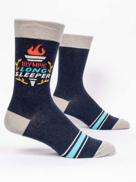 olympic long sleeper mens crew socks, shoe size 7-12. 66% combed cotton; 32% nylon; 2% spandex.