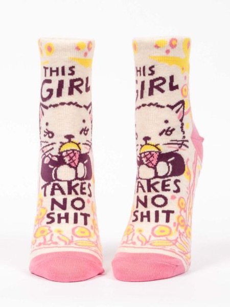 this girl takes no shit womens ankle socks, front view