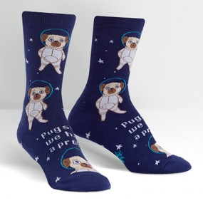 pugston, we have a problem womens socks, fits women's shoe size 5-10, side view