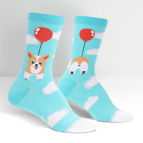 pup, pup and away womens socks, fits women's shoe size 5-10, front view