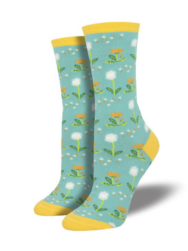 womens wishes in the wind dandelion socks, fits U.S. women's shoe size 5-10.5