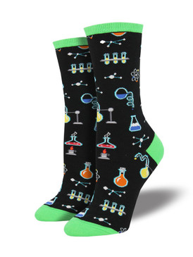 womens all the solutions chemistry socks, fits U.S. women's shoe size 5-10.5
