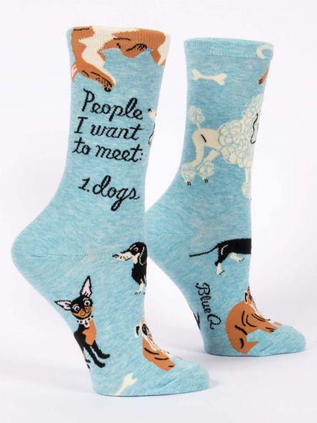 people i want to meet - dogs womens crew socks, side view