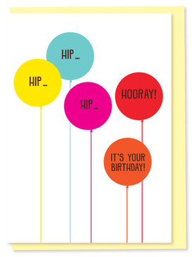 hip hip hip hooray birthday card