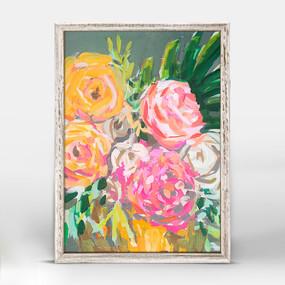 retro floral arrangement framed canvas
