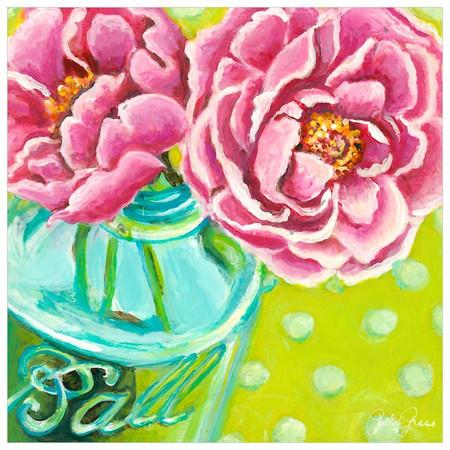 ball jar peonies canvas floral wall art print