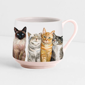 Decaled porcelain, hand-finished cat mug