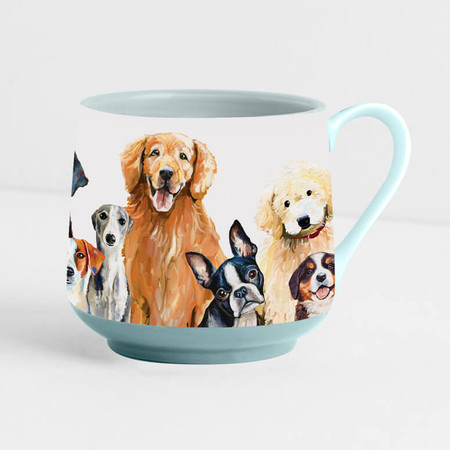 Decaled porcelain, hand-finished dog mug