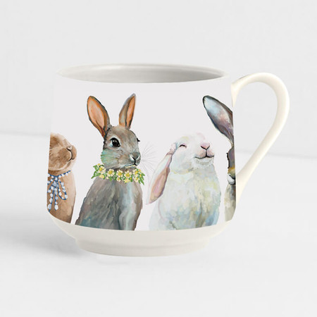 Decaled porcelain, hand-finished bunny mug