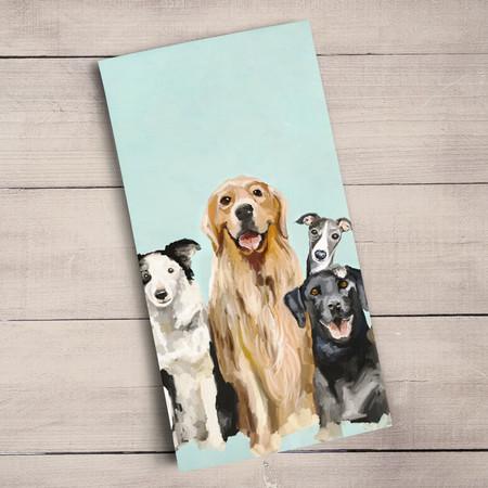 best friends puppy tea towel 100% cotton