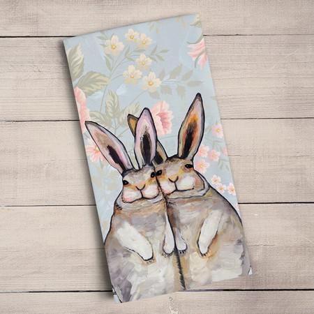 bunny friends floral tea towel 100% cotton