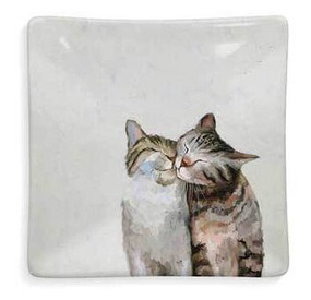 Decaled ceramic hand-finished decorative feline friends dish