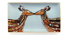 Decaled ceramic hand-finished deer love decorative dish