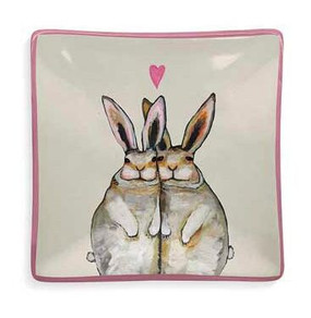 Decaled ceramic decorative dish features bunny love