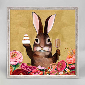 carrot cake bunny with sweets mini framed canvas