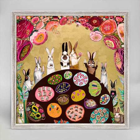 carrot cake and bunnies mini framed canvas