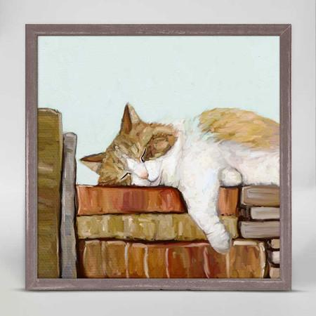 cat on books mini framed canvas