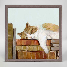 cat on books mini framed canvas