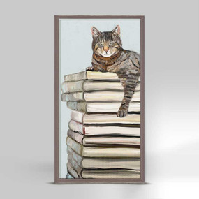 cat on book stack mini framed canvas