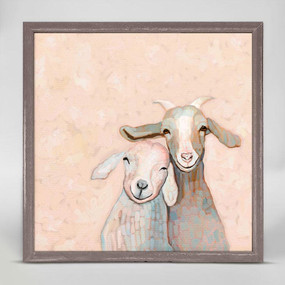 goat friends mini framed canvas